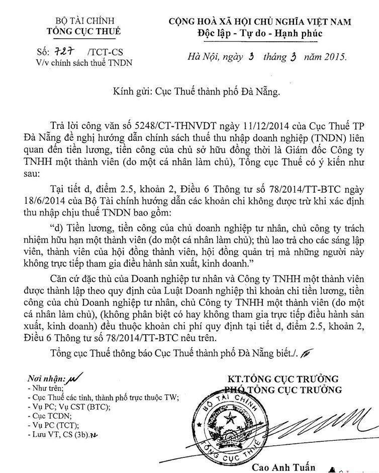 Khoản chi tiền lương, tiền công của chủ DNTN, Công ty TNHH một thành viên có được tính vào chi phí được trừ khi xác định thu nhập chịu thuế TNDN không ?
